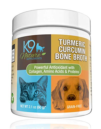 K9 Nature Supplements Turmeric Curcumin Bone Broth for Dogs Grain Free Anti Inflammatory Collagen Dog Tumeric Powder with Organic Coconut Milk Made in USA