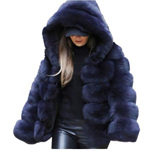 Lisa Colly Women Winter Furs Coat Jacket Luxury Faux Fox Fur Coat Slim Long Sleeve Collar Coat Faux Fur Coat Overcoat (S, Blue 1) Blue Fox Fur Coat Jacket