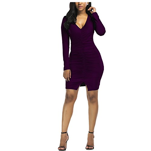 Ladies Sexy Dresses (XIONGMEI Women's Sexy V Neck Long Sleeve Ruched Plus Size Bodycon Bandage Party Dresses(Purple,L))