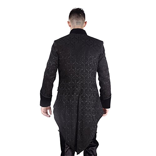 Pentagramme Brocade Manteau Queue De Pie Elégant Style Officier Gothique (Noir)