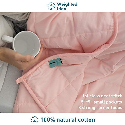 Weighted Idea Weighted Blanket 20 lbs for Adults (60''x80'', 100% Natural Cotton, Coral Pink)