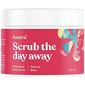 ASUTRA Dead Sea Salt Body Scrub Exfoliator (Sensual Rose), NEW BIGGER 16 oz Size | Ultra Hydrating, Gentle…