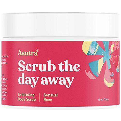 Asutra, Organic Exfoliating Body Scrub, Sensual Rose, 100% Dead Sea Salt Scrub, Ultra Hydrating and Moisturizing Scrub, Skin Smoothing Jojoba, Sweet Almond, and Argan Oils, 12 oz. Jar