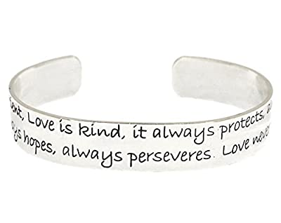 1 Corinthians 13 Love is patient verse brass cuff bracelet inspirational message