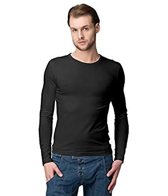 American-Elm Men's Cotton Slim Fit Full Sleeves Round Neck Tshirts for Casual Wear