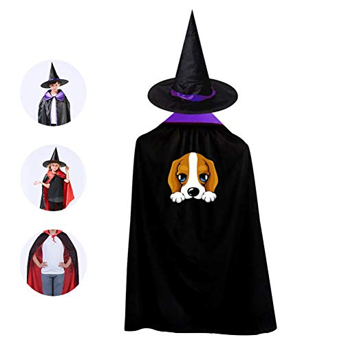 69PF-1 Halloween Cape Matching Witch Hat Cute Dog Wizard Cloak Masquerade Cosplay Custume Robe Kids/Boy/Girl Gift Purple ()