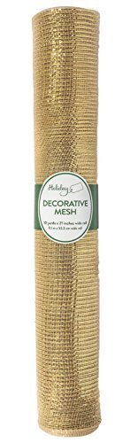 Deco Poly Mesh Roll Gold with Gold Metallic from DECO MESH DESIGN 21'' X 10 yards -