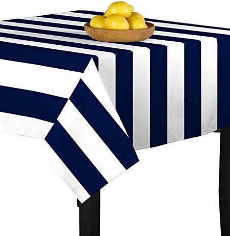 Navy White Cabana Stripe Milliken Signature Tablecloths – Assorted Sizes 60 x120