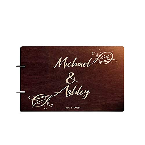 Book Guest Engraved (Just Customized Personalized Handmade Mr Mrs Wedding Guest Book for Bride and Groom Wood Alternative Custom Engraved Newlywed Marriage Album (Chocolate Walnut))