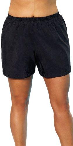 Aquabelle Chlorine Resistant, Black Plus Size Nylon Short Swimwear, Size 26