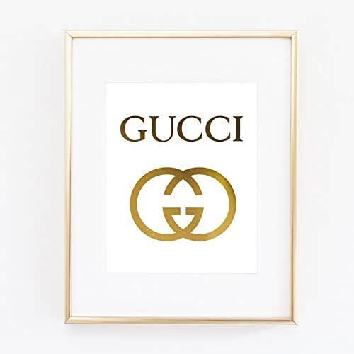 gucci logo poster real gold foil print wall art prada marfa distance like gossip. Black Bedroom Furniture Sets. Home Design Ideas