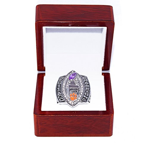 CLEMSON UNIVERSITY TIGERS (Josh Hutchinson) 2011 ACC CHAMPIONS Howards Rock (First In 20 Years) Collectible High-Quality Replica NCAA Football Silver Championship Ring with Cherrywood Display Box Trackside Autographs