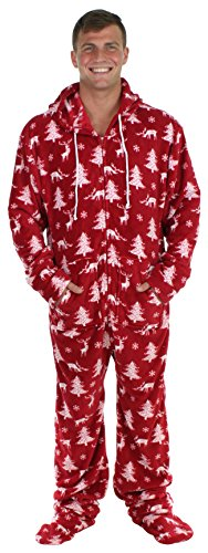 SleepytimePjs Men's Fleece Onesie Hooded Footed Pajamas