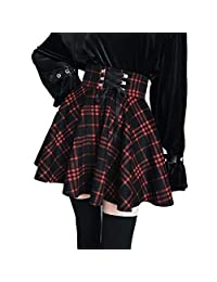 Enfei Women's Skirts A-Line Belt Plaid Lace Up Mini Pleated Skirt Plus Size Skirt