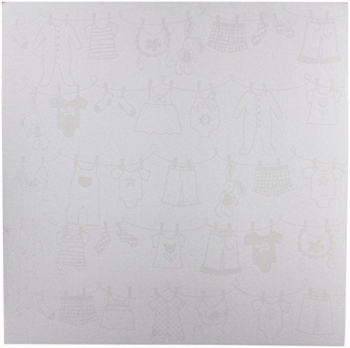 Bazzill Basics Glazed 12x12 Cardstock 15-Pack: Baby Clothesline Lily White (Cardstock Glazed Bazzill)