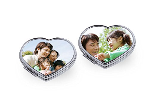 5 Pcs. SUBLIMATION HEART POCKET MIRROR HEAT TRANSFER ENGRAVED by SFS BLANK