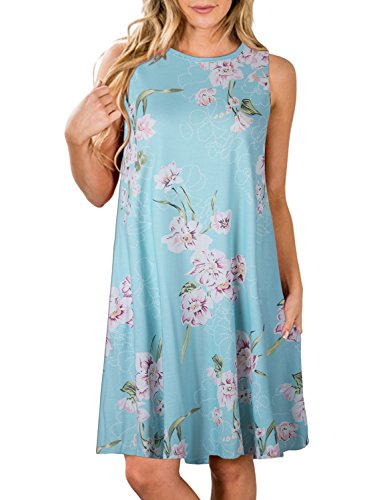 ZESICA Women's Summer Sleeveless Damask Print Pocket Loose T-Shirt Dress Blue Floral Small