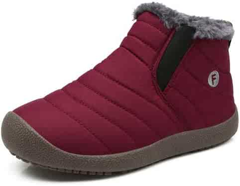 Enly Winter Snow Boots Slip-on Water Resistant Booties for Men Women Kids, Anti-Slip Lightweight Ankle Boots with Full Fur