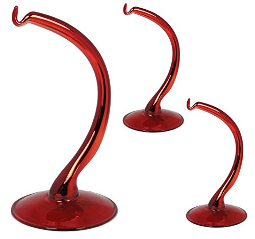 Red Glass Ornament Stands - Set of 3