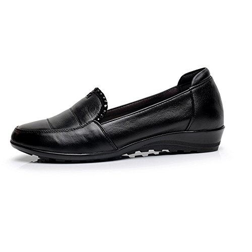 XZGC Primavera de Cuero Suela Negro Zapatos de de Suela Sx0ASqfrw