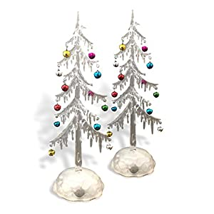 BANBERRY DESIGNS Light Up Acrylic Trees - Set of 2 LED Christmas Trees - Miniature Jingle Bell Ornaments Attached - Christmas Table-Top Display 23