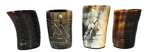 Whiskey Shot Glasses Odin and Waves Hand Engraved Set of 4 pieces Natural Horn Glass Polished Glass 4-4.5 inch Idea for Gift & any Wine Party and Cold Drink Serve in that Made of Bull Horn 8-10 OZ ()