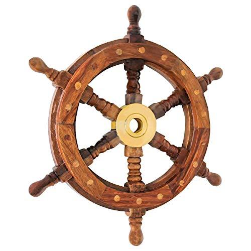 Nautical Decor Sheesham Wood Decorative Ship Wheel with Brass Center Home Decoration Gifts (18