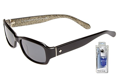 Kate Spade Women's Adley Polarized Rectangular Sunglasses, Black Glitter, 54 (Glitter Womens Sunglasses)