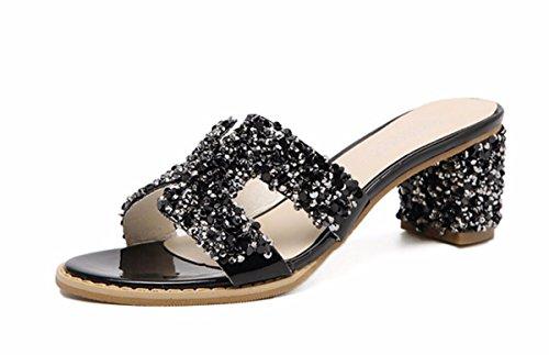 GTVERNH Zapatos de Mujer/Verano/Taladro De Agua Verano Zapatillas Zapatos De Tacon Alto Tacon 6 Cm Duro Fuera De Desgaste Resistencia Fría Hembra Semi - Remolque black
