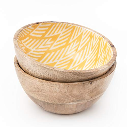 Enamel Mango (Set of 2 Wooden Bowls or Acai Bowl for Food, Cereals, Fruits or Ice Cream | 100% Natural, Eco Friendly, Vegan Buddha Bowl for Smoothie or Salad | 20 Ounces, Mango Wood, 6 Inch by 3 Inch, Yellow Ikkat)