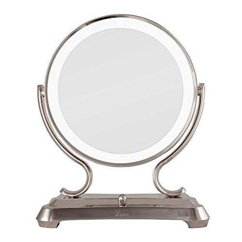 Zadro Polished Nickel Surround Light Dual Sided Glamour Vanity Mirror, 5X / - Bathroom Bath Vanity Beyond Bed Mirrors