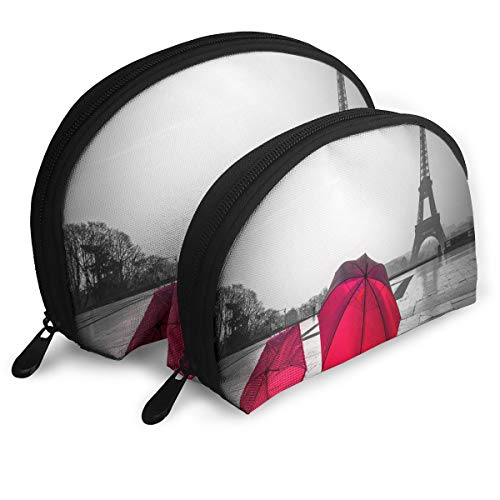 Makeup Bag Retro Paris Eiffel Tower With Red Umbrella Portable Shell Pouch For Women Halloween Gift Pack - 2