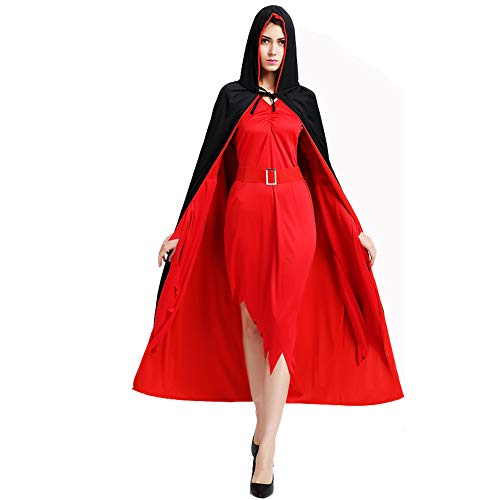 Unisex Costume Cosplay Hooded Cloak - Black Red Reversible Halloween Christmas Witch Party Easter Vampires Role Cape Kids Teen Adult 68.9