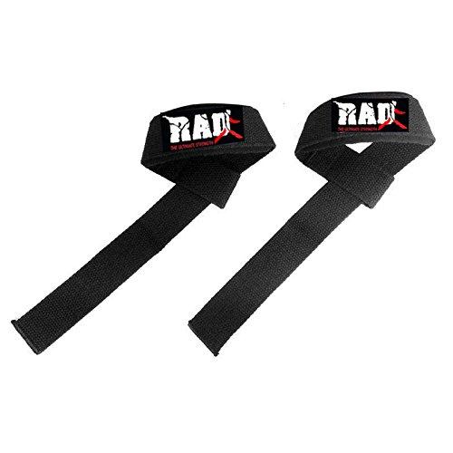 Rad Bigグリップno-slipパッド入り重量リフティングストラップStrenght重量トレーニング、ブラック   B00LU0IO98