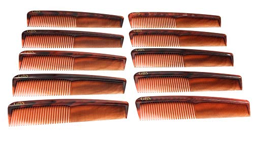 GBS Professional Handmade Grooming Combs - Tortoise Course/Fine Styling Combs - 10 Pack!