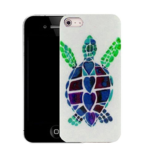 Mobile Case Mate IPhone 4s clip on Silicone Coque couverture case cover Pare-chocs + STYLET - blue turtle pattern (SILICON)