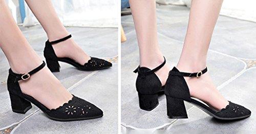Cava GLLX Nero Sandali Dimensioni Coreane Scarpe Tacco Sexy Sandali 37 Alto da a Colore HJHY con Aperti Scarpe Punta e Donna 61ZqrpUW6H