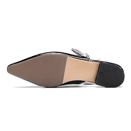 1TO9 MJS02778 Flats Square Color Pleather Heels Square Black Shoes Assorted Toe Womens gFqawgp