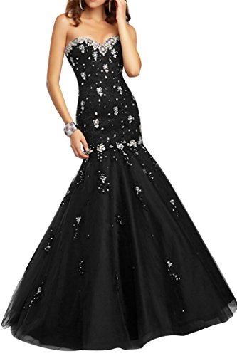 Festkleid Abendkleider Promkleid amp;Tuell Meerjungfrau Damen Spitze Ivydressing Schwarz Steine Stil xpq06wnOP