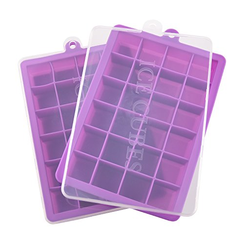 Ice Cube Trays with Lid, Silicone Ice Tray Molds Easy Release Ice Jelly Pudding Maker Mold, 24 Cavity (2 Pack, Purple)