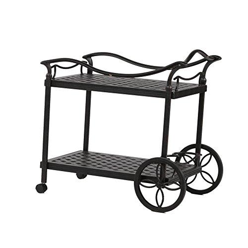 (iPatio Sparta 2 Tier Outdoor Serving Aluminum Tea Cart for Indoor & Outdoor Use)