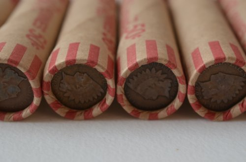 Wheat Cent Roll - Unsearched Wheat Penny Shot Gun Roll w/ Indian Head Cent Ends Old Us Coin Shotgun Lot