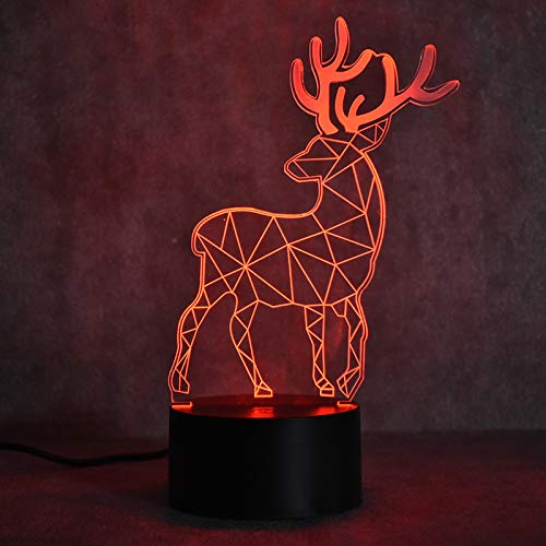 Deer 3D Night Light Lumiere LED Optical Illusion 3D Lamp with USB Cable, 7 Colors Change, Smart Touch Control and ABS Base, Cool Christmas and Birthday Gift for Boys and Girls by Lumiere