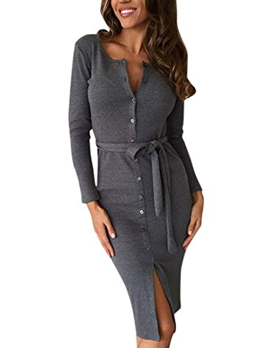 Gray Belted Dress (Kancystore Women's Fashion Button Down Knee Length Dress (Gray, M))