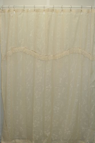 - Milan Clipped Jacquard Sheer Fabric Shower Curtain-Ivory