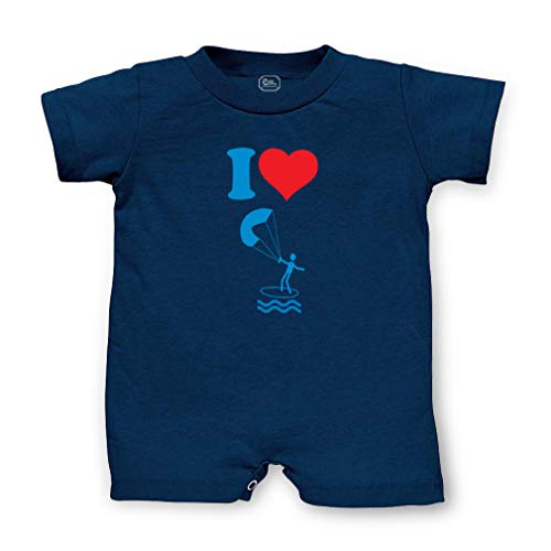 I Love Kite Boarding Short Sleeve Taped Neck Boys-Girls Cotton Infant Romper Jersey Tee - Navy, 12 Months