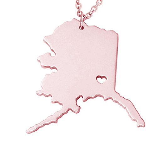 (M&T 2015 Rose Gold Tone Stainless Steel Map Pendant Necklace, We Love Alaska,)