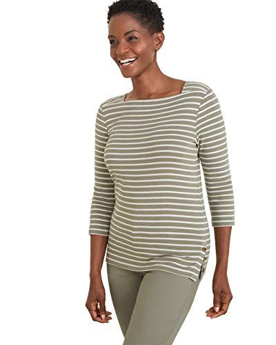 (Chico's Women's Supima Cotton Striped Bateau-Neck Top Size 0/2 XS (00) Vetiver)