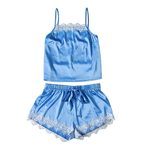 (2019 Pajamas for Girls Fashion Sexy Lace Sleepwear Lingerie Temptation Babydoll Underwear Nightdress Blue S)