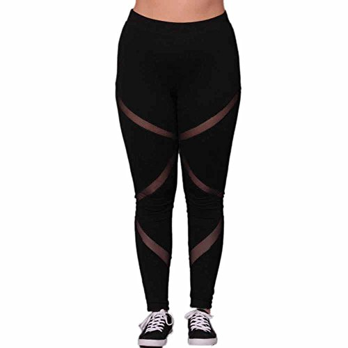 Tootu-Women-Plus-Size-Elastic-Leggings-Solid-Criss-Cross-Hollow-Out-Sport-Pants